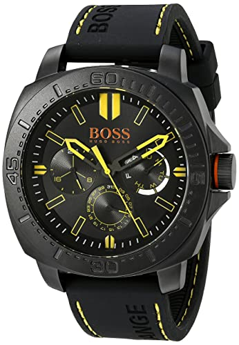 BOSS Orange Men s 1513243 SAO PAULO Black Stainless Steel Watch with Rubber Strap