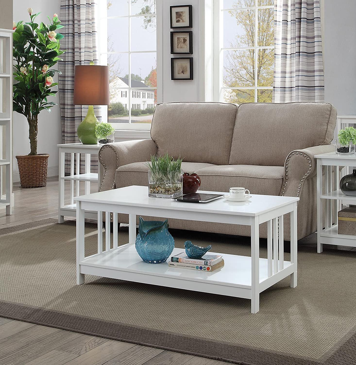 Convenience Concepts Mission Coffee Table, White 203382W