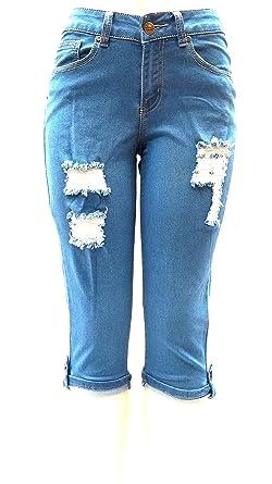 f3ccfc4032775 Juniors Womens Plus Size Blue Capri Denim Jeans Destroy Ripped Distressed  Pants (7 8