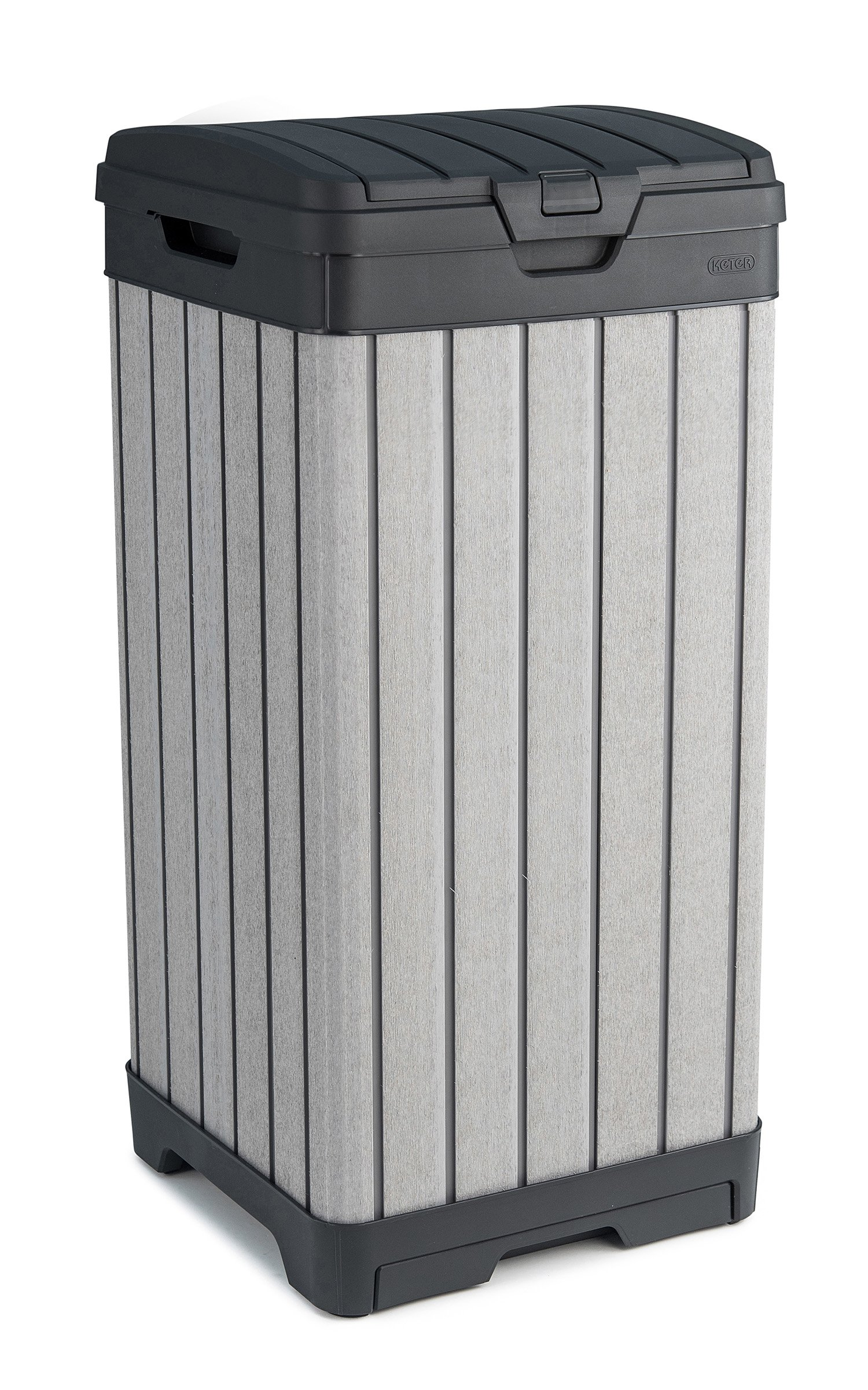 Keter Rockford 38 Gallon Outdoor Trash Can with Lid and Drip Tray for Easy Cleaning, Grey by Keter
