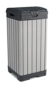 Keter Rockford 38 Gallon Outdoor Trash Can with Lid and Drip Tray for Easy Cleaning, Grey