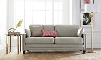 Elle Decor Bella Sofa with Nailheads, Fabric, Taupe