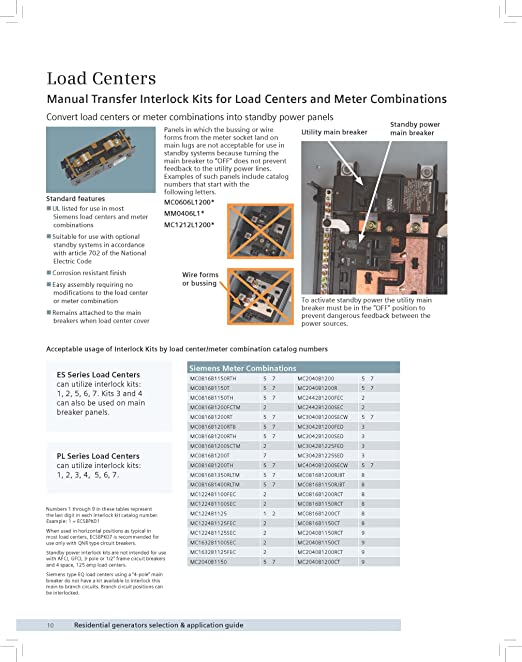 91O 9TIBzxL._SX522_ amazon com siemens ecsbpk05 generator standby power mechanical siemens load center wiring diagrams at gsmportal.co
