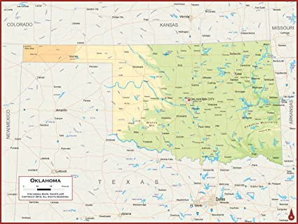 Amazon Com 54 X 41 Large Oklahoma State Wall Map Poster With