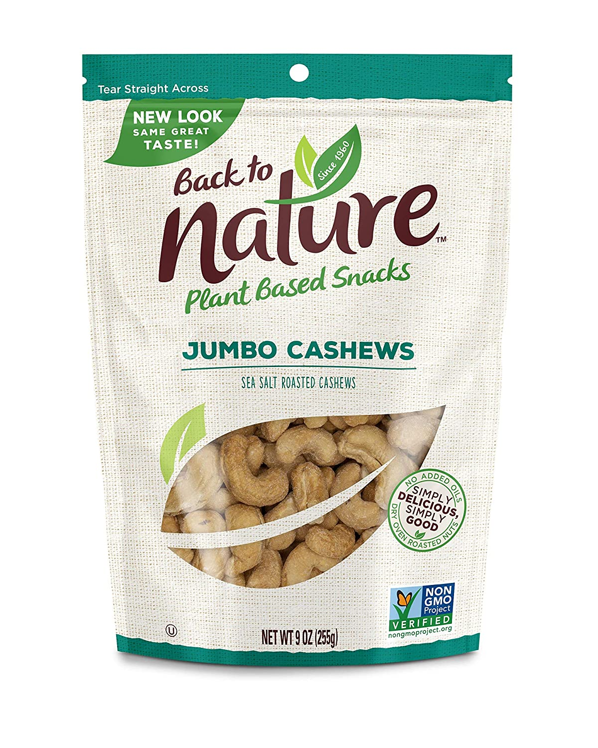 Back to Nature Nuts, Non-GMO Sea Salt Roasted Jumbo Cashews, 9 Ounce (Packaging May Vary)