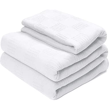 Utopia Bedding Woven Summer Cotton Blanket (King, White) Breathable Cotton Throw Blanket and Quilt for Bed & Couch/Sofa
