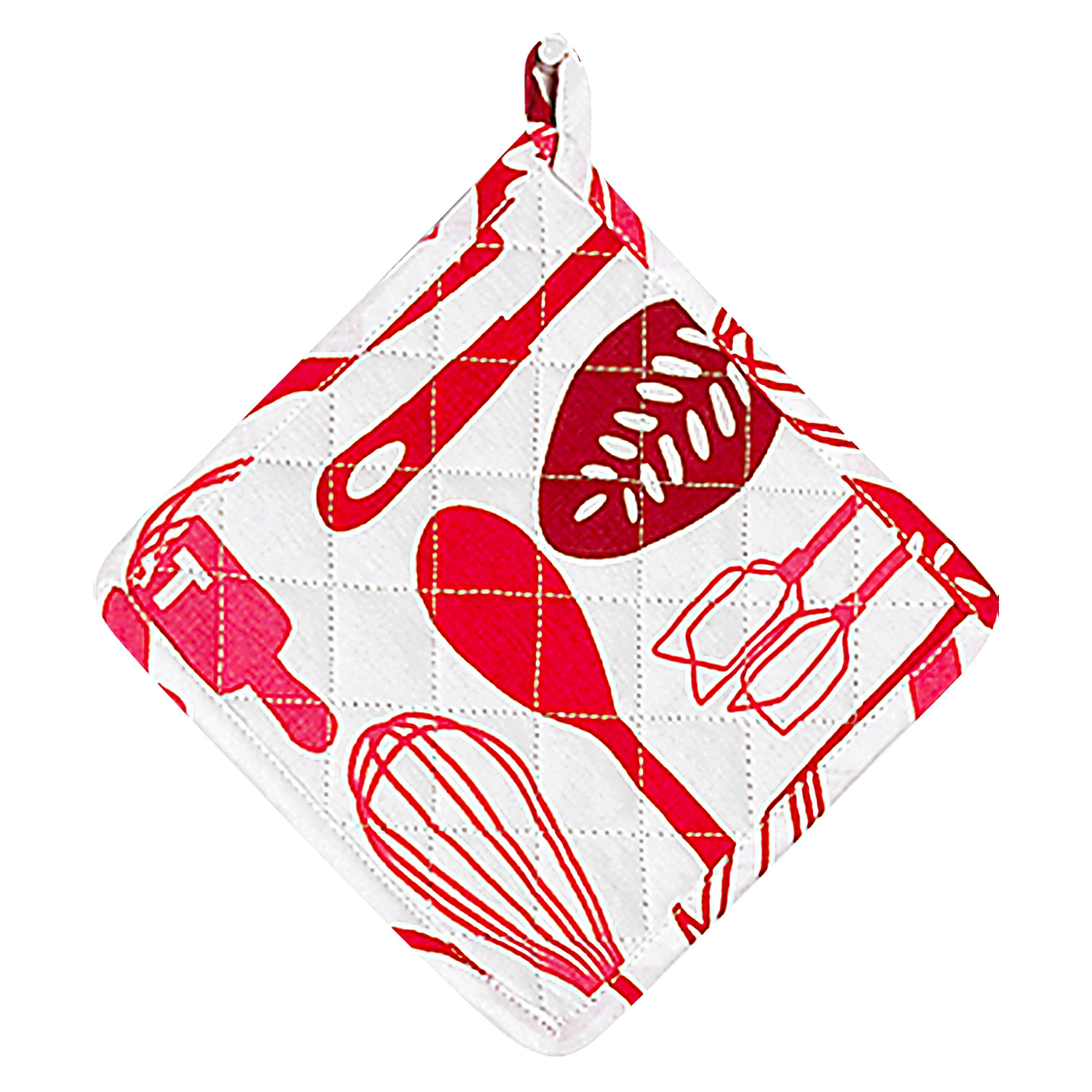 Meat Red Pot Holder - Oven Glove - 100% Cotton Quilted, Machine Washable - 8'' x 8'' - Color Coded Kitchen Tools by The Kosher Cook by The Kosher Cook