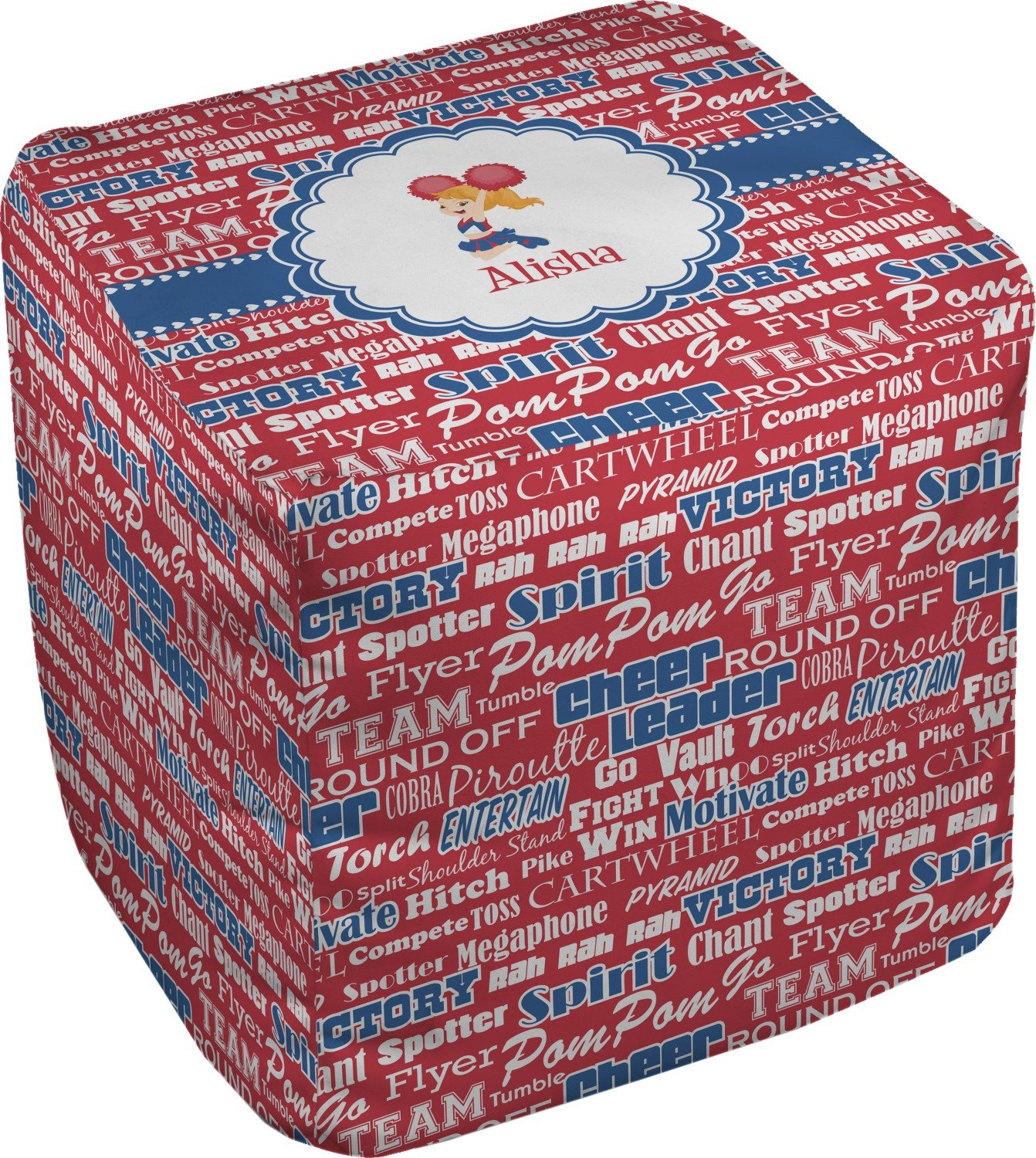 RNK Shops Cheerleader Cube Pouf Ottoman - 13'' (Personalized)