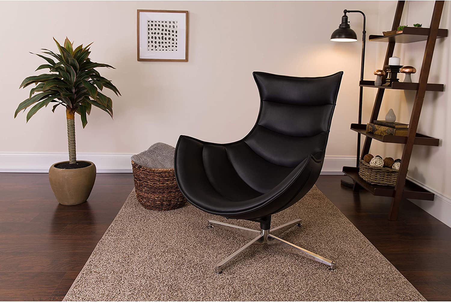Flash Furniture Black Leather Swivel Cocoon Chair