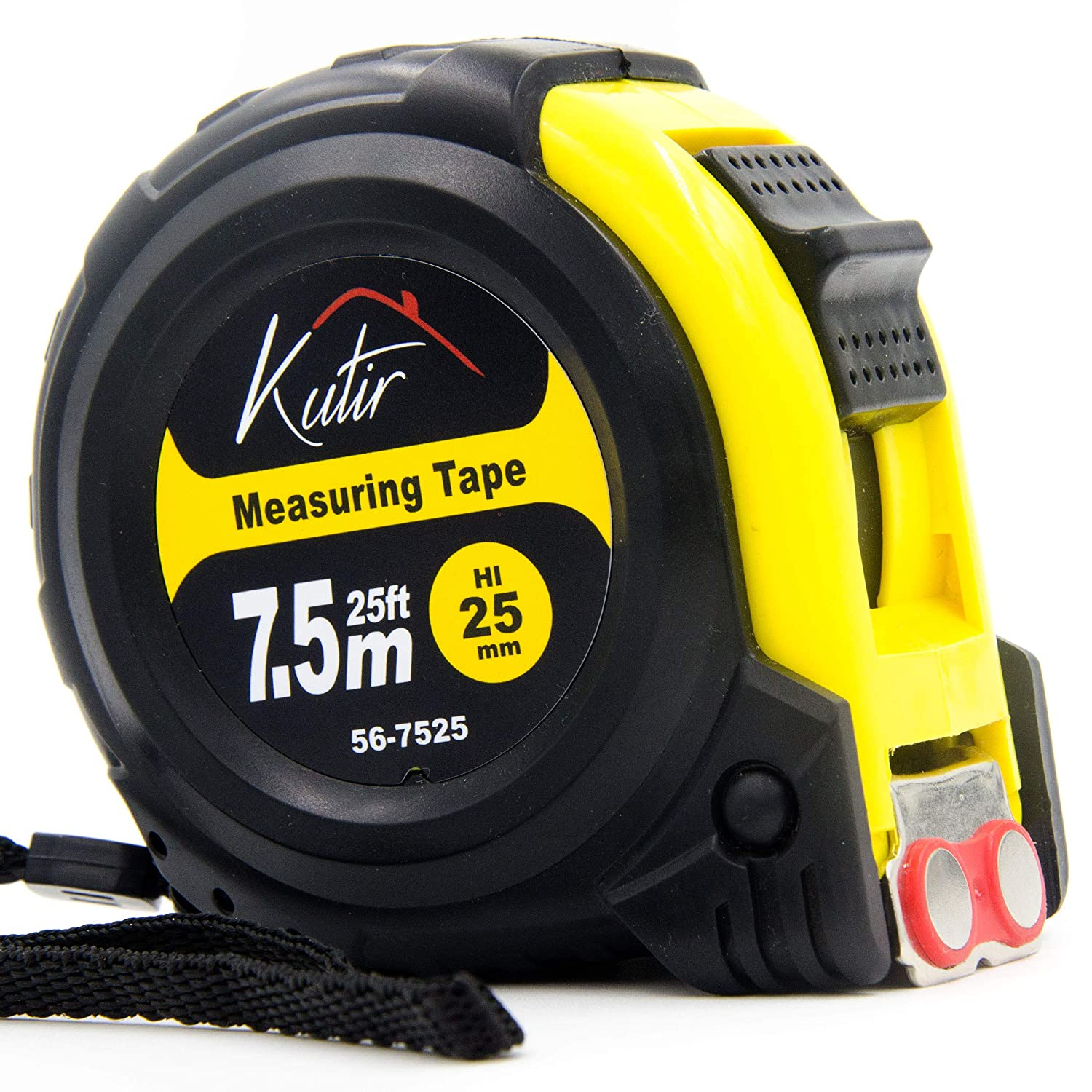 Measuring Tape Measure By Kutir EASY TO READ 25 Foot BOTH SIDE DUAL RULER Retractable STURDY Heavy Duty MAGNETIC HOOK Metric Inches and Imperial Measurement SHOCK ABSORBENT Solid Rubber Case