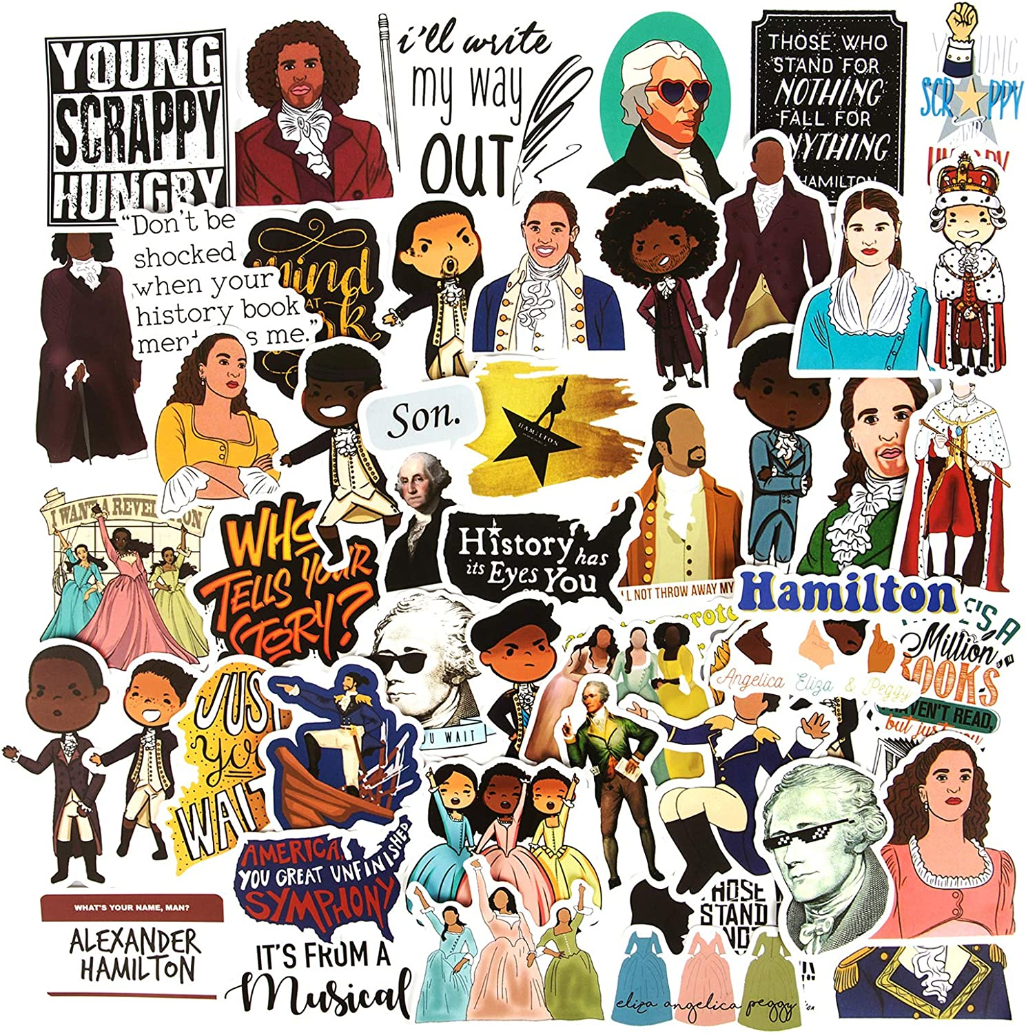 Hamilton Musical Stickers, 50PCS Waterproof Vinyl Stickers Stylish Laptop Stickers Artistic Water Bottle Stickers Luggage Bicycle Computer Skateboard Stickers for Teens Decal