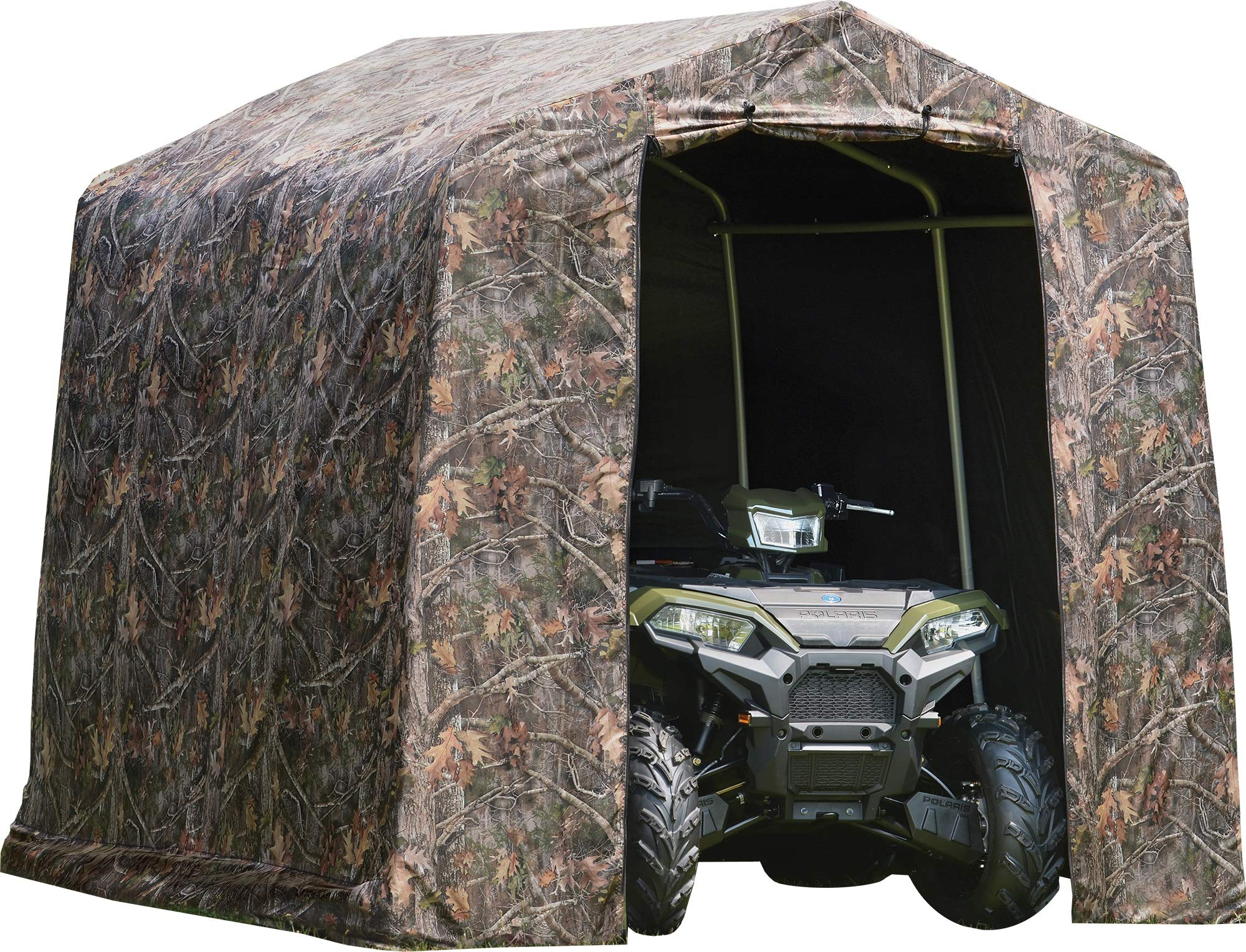 ShelterLogic 8' x 8' Shed-in-a-Box All Season Steel Metal Peak Roof Outdoor Storage Shed with Printed Camouflage Cover and Heavy Duty Reusable Auger Anchors by ShelterLogic