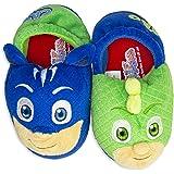 PJ Masks Boys Slippers Catboy and Gekko,Slip on Plush Slippers for Toddlers,Blue Green,Blue Green, Toddler Size