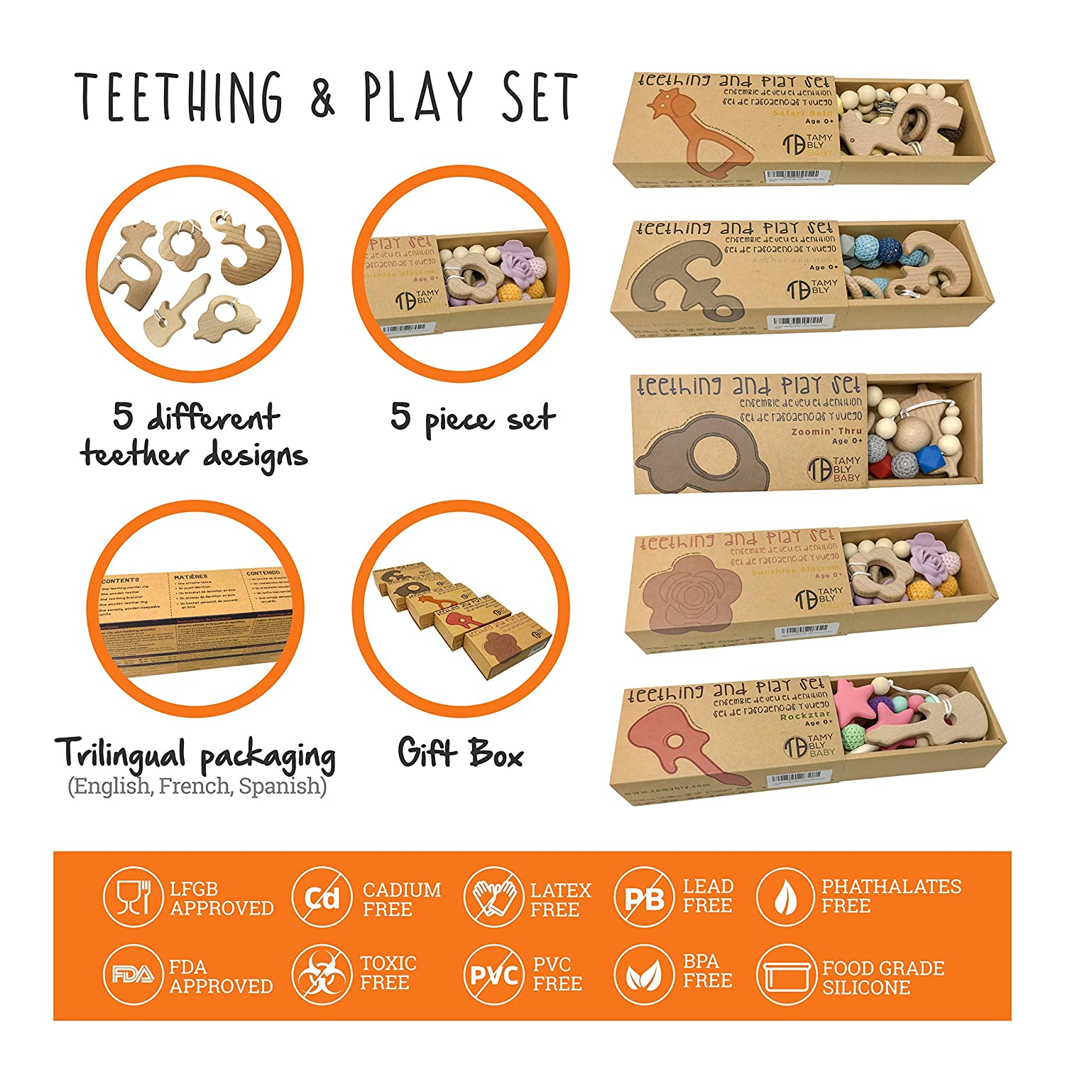 Tamy Bly Natural Wood /& Silicone Pacifier Clip Teether Wood Teething Rings,Updated Assembled Wood Teething Rattle|5pcs Baby Teether Toys Set|BPA Free|Anchor /& Hugs Teething Bracelet Wooden Teethers