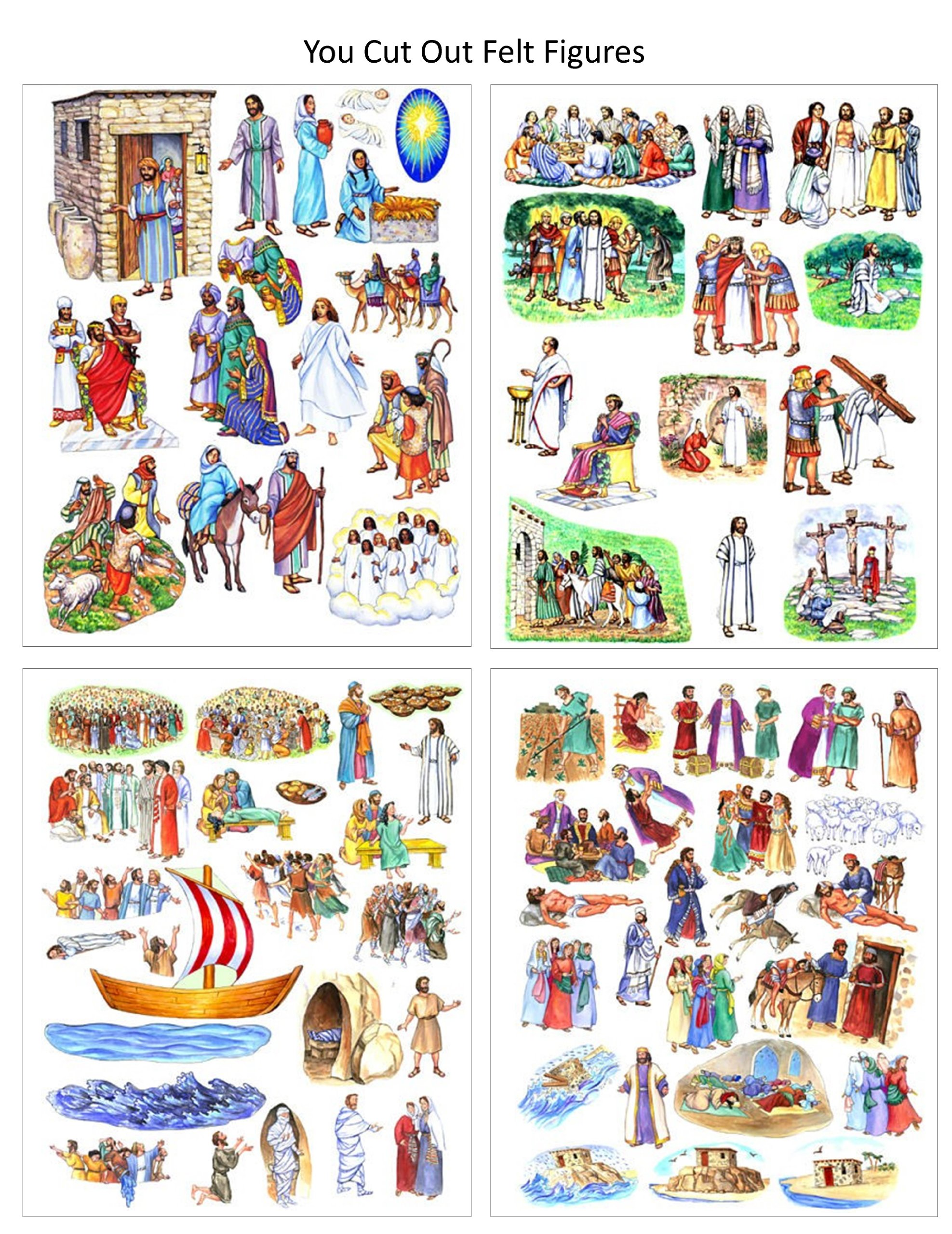 You Cut Out Felt- 13 Jesus Bible Stories Birth Crucifixion Parables Miracles- Felt Figures for Flannel Board Story Time Felts