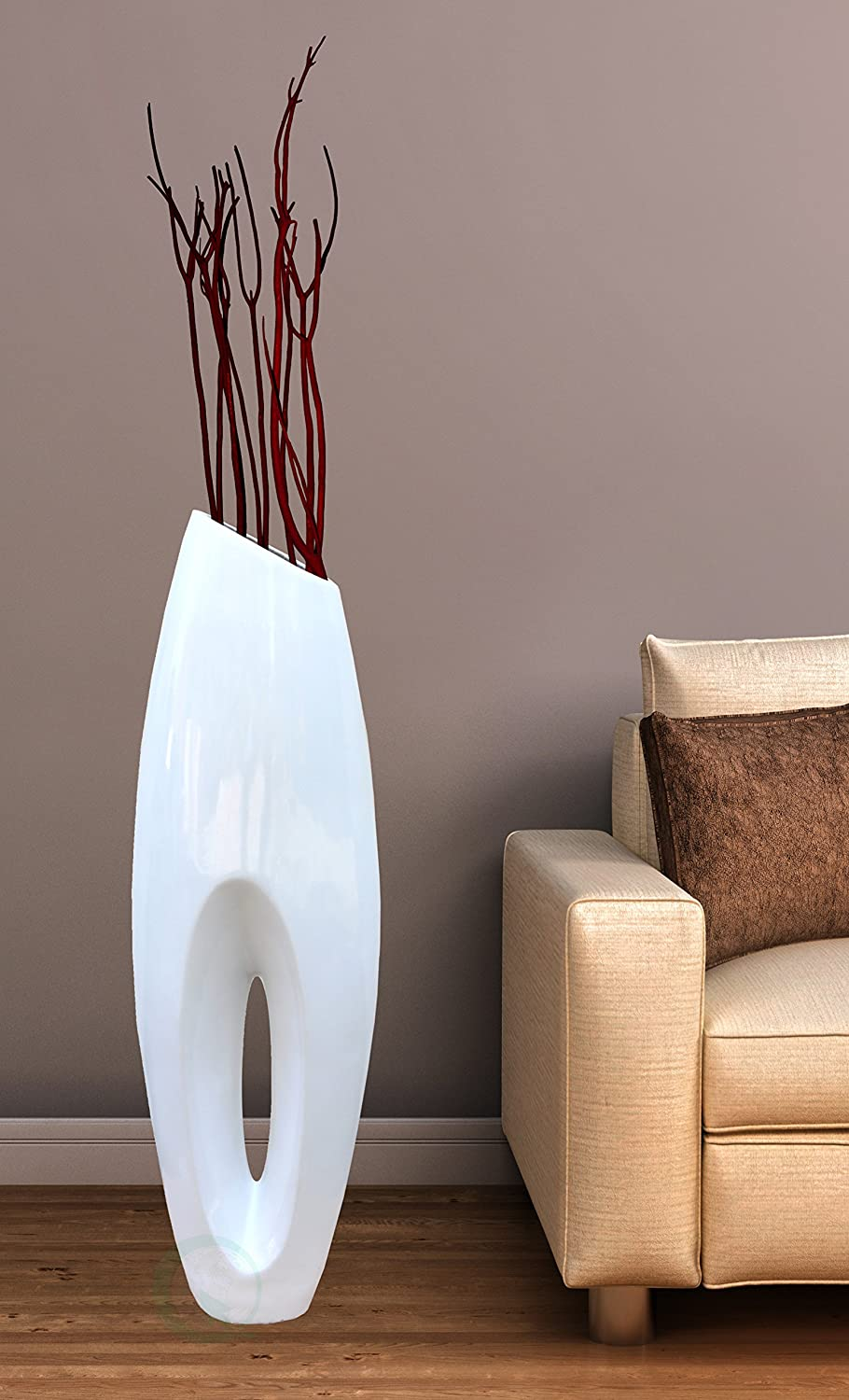 Modern white large floor vase
