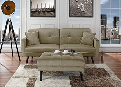 mid century modern furniture living room. mid-century modern brush microfiber futon sofa bed, living room sleeper  couch (beige mid century modern furniture living room