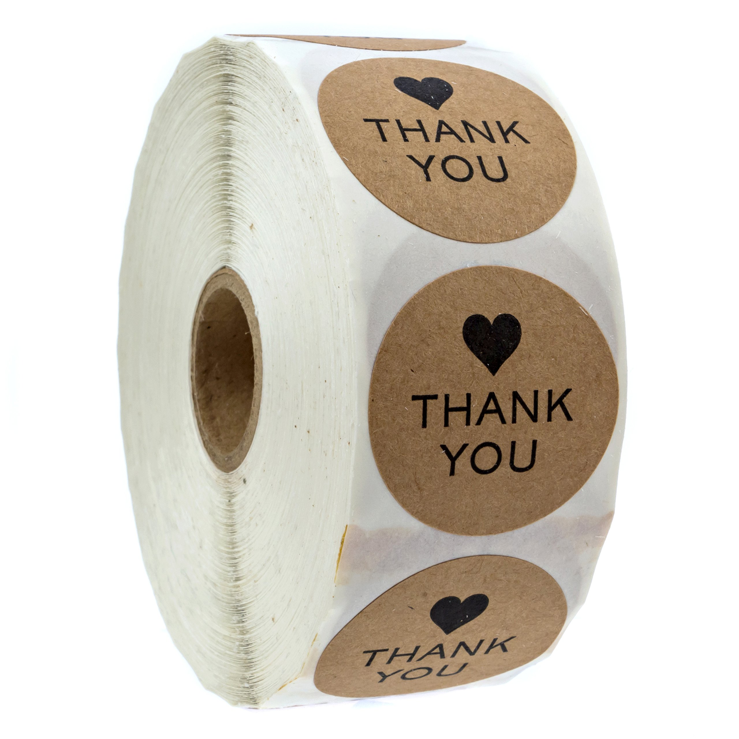 1.5'' Round Kraft Thank You Stickers / 1,000 Labels per Roll