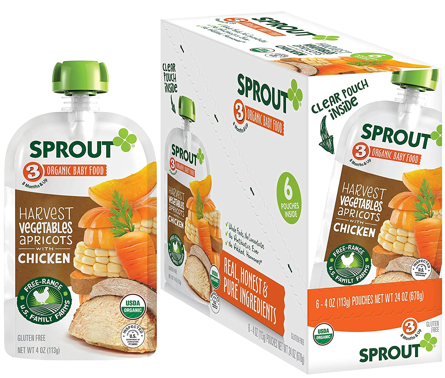 Sprout Organic Baby Food Pouches Stage 3, Harvest Vegetables Apricots w/ Chicken, 4 Ounce Pouches (Pack of 12)