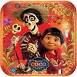 """Disney - Pixar COCO movie Large 9"""" Square Plates 8 Pack Birthday Party Supplies Day of the Dead"""