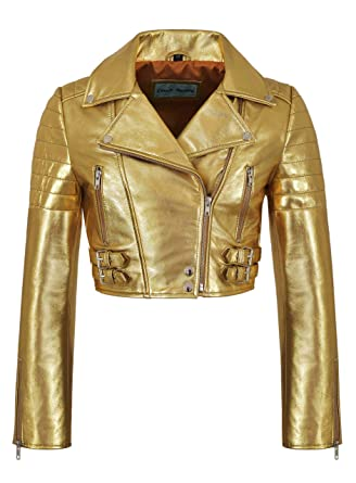 fe53ceb09b32 Ladies Biker Metallic Leather Jacket Cropped Short Body Style Real Lambskin  5625 (8 for Bust