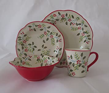 LG Stylish 16-piece Dinnerware Set Christmas Flower & Amazon.com | LG Stylish 16-piece Dinnerware Set Christmas Flower ...