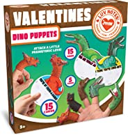 JOYIN 15 Pack Valentines Day Gift Cards with Gift Realistic Dinosaur Figure Finger Puppet Set for Valentine Classroom Exchang