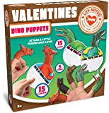 JOYIN 15 Pack Valentines Day Gift Cards with Gift Realistic Dinosaur Figure Finger Puppet Set for Valentine Classroom…