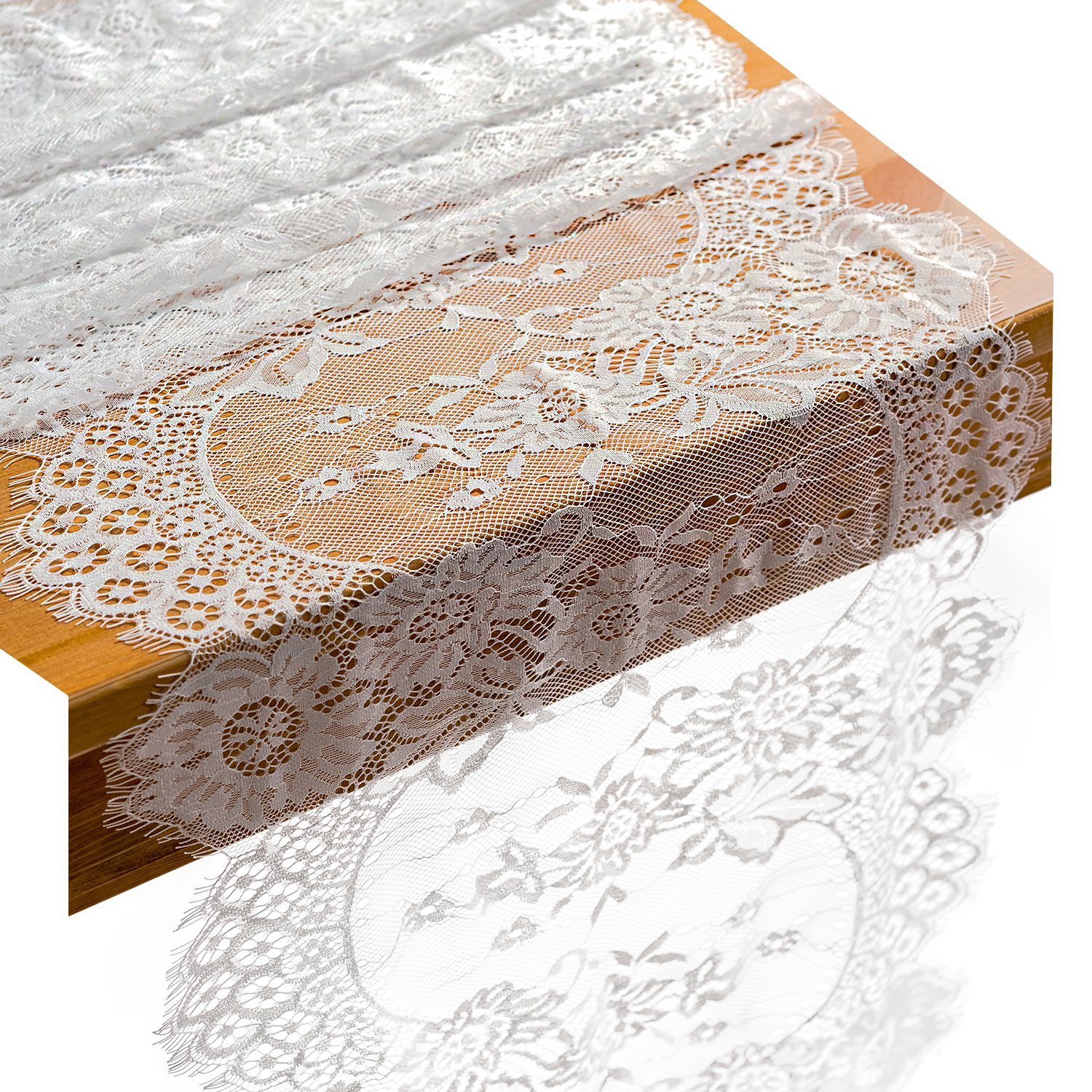 Crisky 14x120 Inch White Lace Table Runners with Rose Vintage Embroidered Boho Wedding Reception Table Decoration, Thin, Baby & Bridal Shower Party Decor package of 5