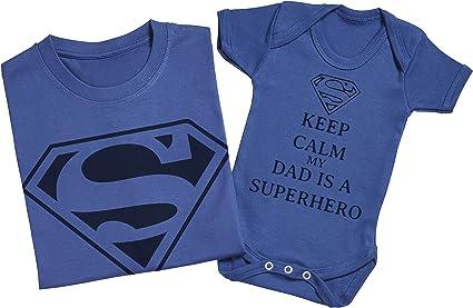 Hommes T-Shirt /& Body b/éb/é Keep Calm Dad is A Super Hero Ensemble P/ère B/éb/é Cadeau