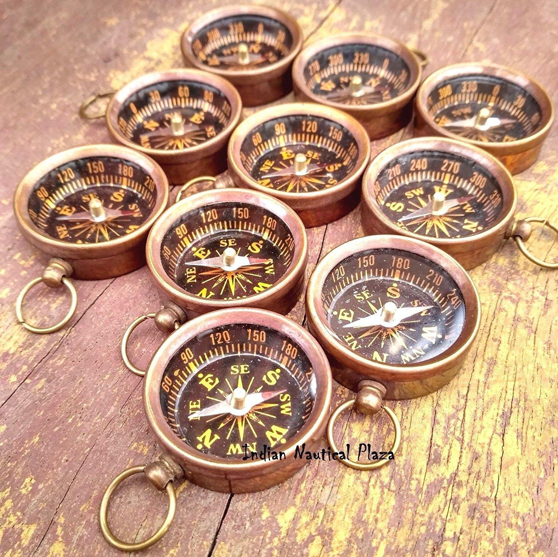 300個のロットMaritime Nauticalヴィンテージスタイル真鍮ポケットコンパスキーチェーン B076PBGDC4