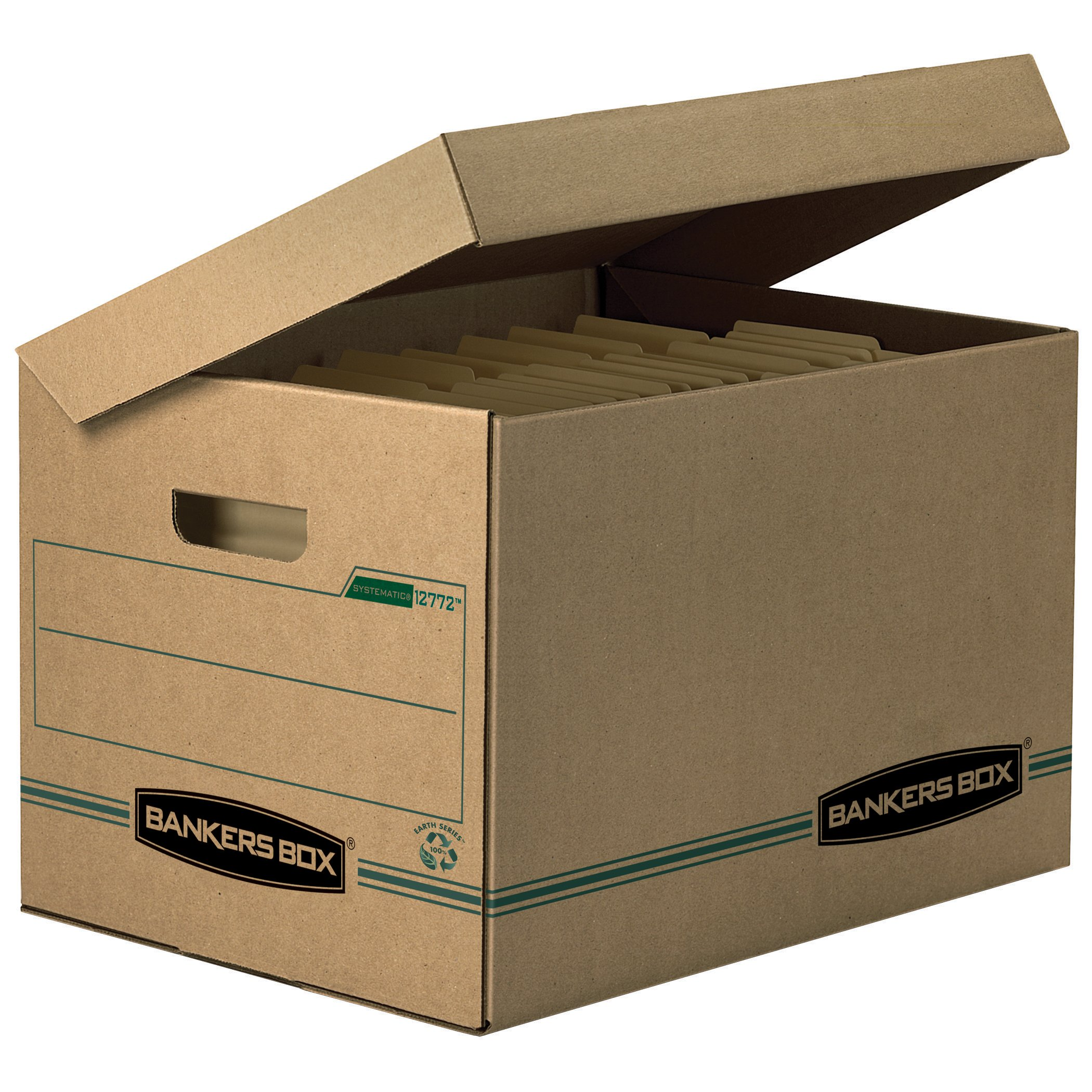 Bankers Box 12772 STOR/FILE Storage Box, Letter/Legal, Attached Lid, Kraft/Green (Case of 12)