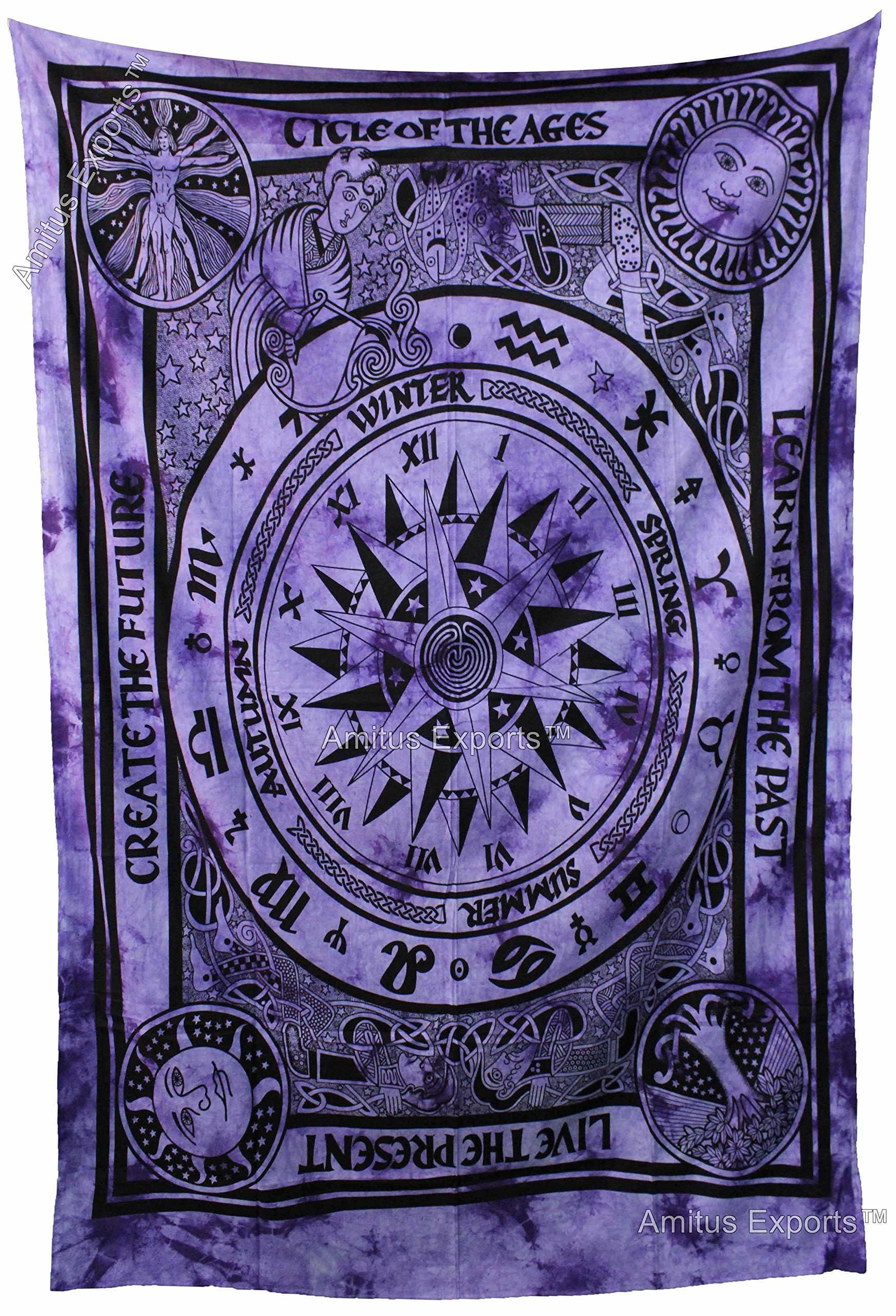Amitus Exports TM Premium Quality 1 X Cycle Of Ages 80''X57''(Approx.) Inches Purple Color Twin Size Cotton Fabric Tapestry Hippy Indian Mandala Throws (Handmade In India)