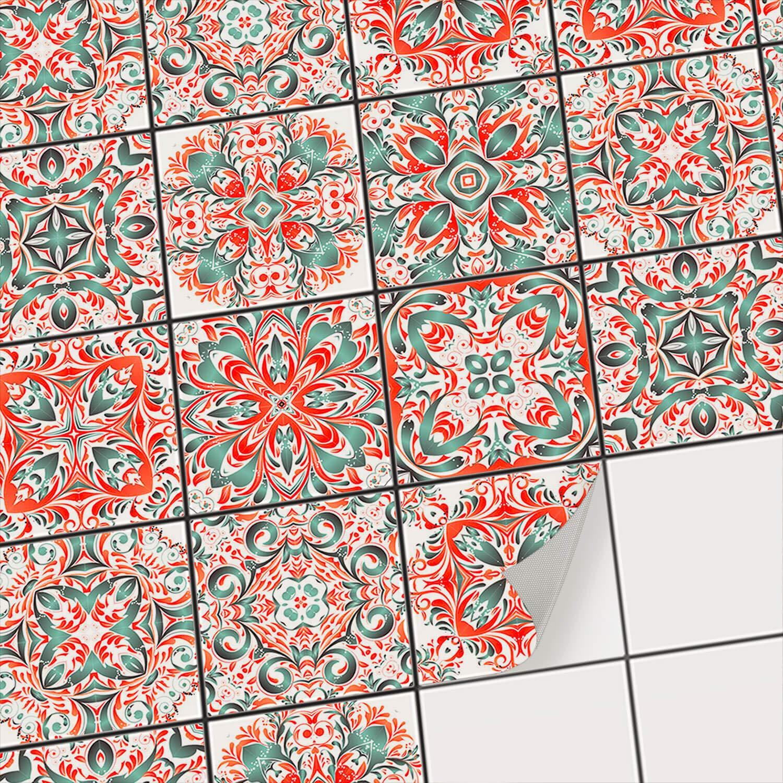Design Tuiles Mexicaines creatisto PVC Autocollant Carreau de Ciment I Mosaique Salle de Bain Stickers Carrelage adh/ésif Mural I D/écalque de Mur de PVC I Stickers carrelage 9 pi/èces 10x10 cm