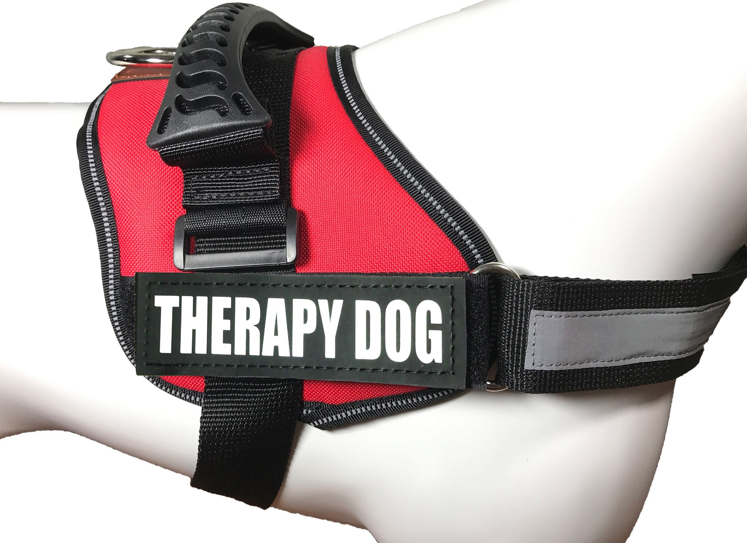 ALBCORP Reflective Therapy Dog Vest Harness, Woven Polyester & Nylon, Adjustable Service Animal Jacket, with 2 Hook and Loop Therapy Dog Removable Patches, Medium, Red
