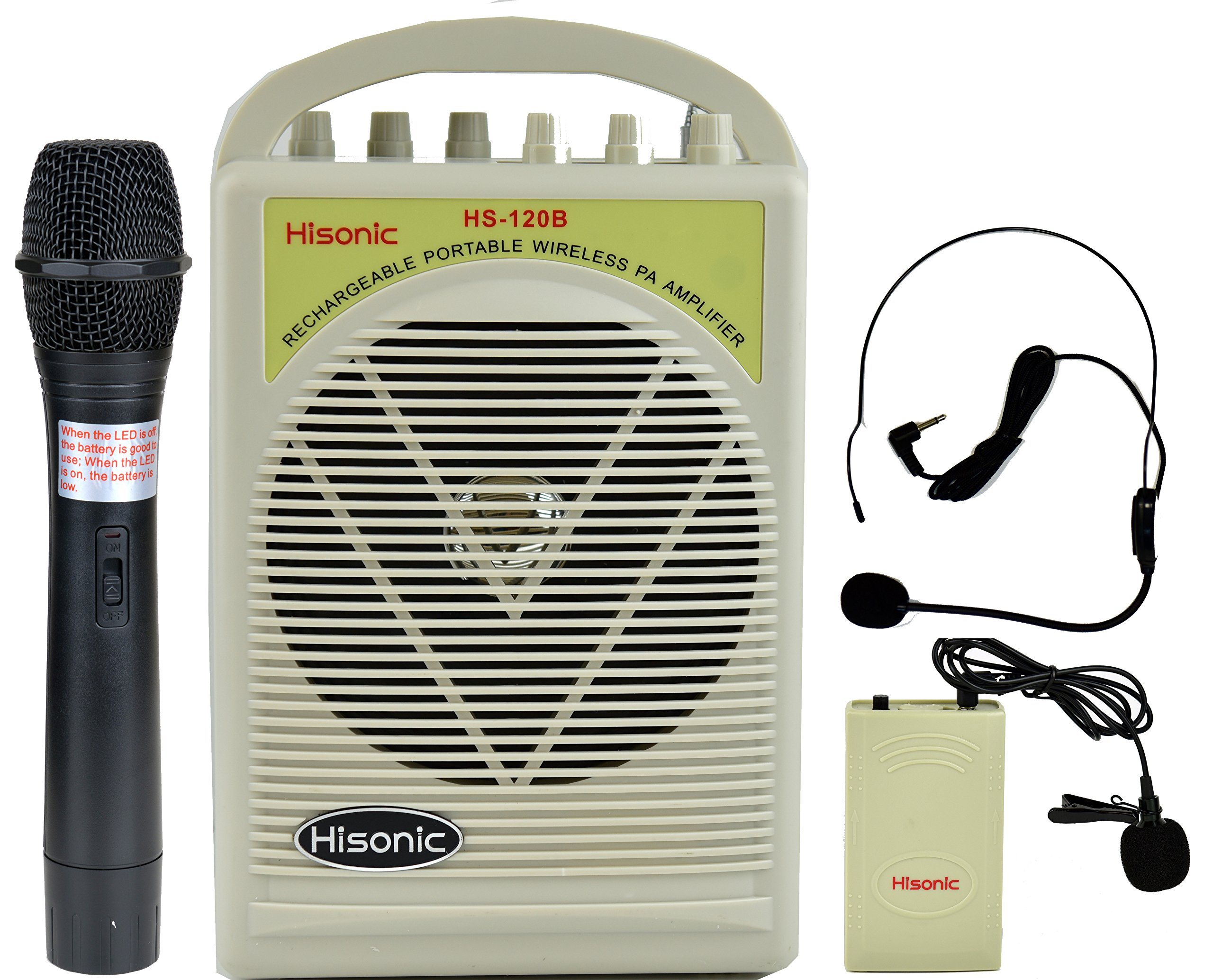 Hisonic HS120BW-HL Lithium Battery Rechargeable & Portable PA (Public Address) System with Built-in VHF Wireless Microphone and Car Cigarette Lighter Cable