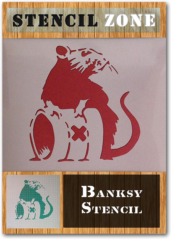 A4 Gr/ö/ße Stencil - Small Banksy Ratten-Art-Waste Drum Mylar Airbrush Malerei Wand-Kunst-Handwerk-Schablone