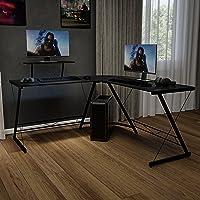 Flash Furniture L-Shape Computer Desks, Black/Black