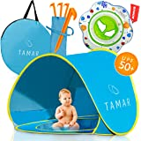 TAMAR 2018 Baby Beach Tent: Toddlers and Tots Blue Pop-Up Sun Shelter with mini Pool and Detachable Shade, Lightweight, 50 SPF UV Protection with Carry Bag And A Bonus Baby Swimming Ring