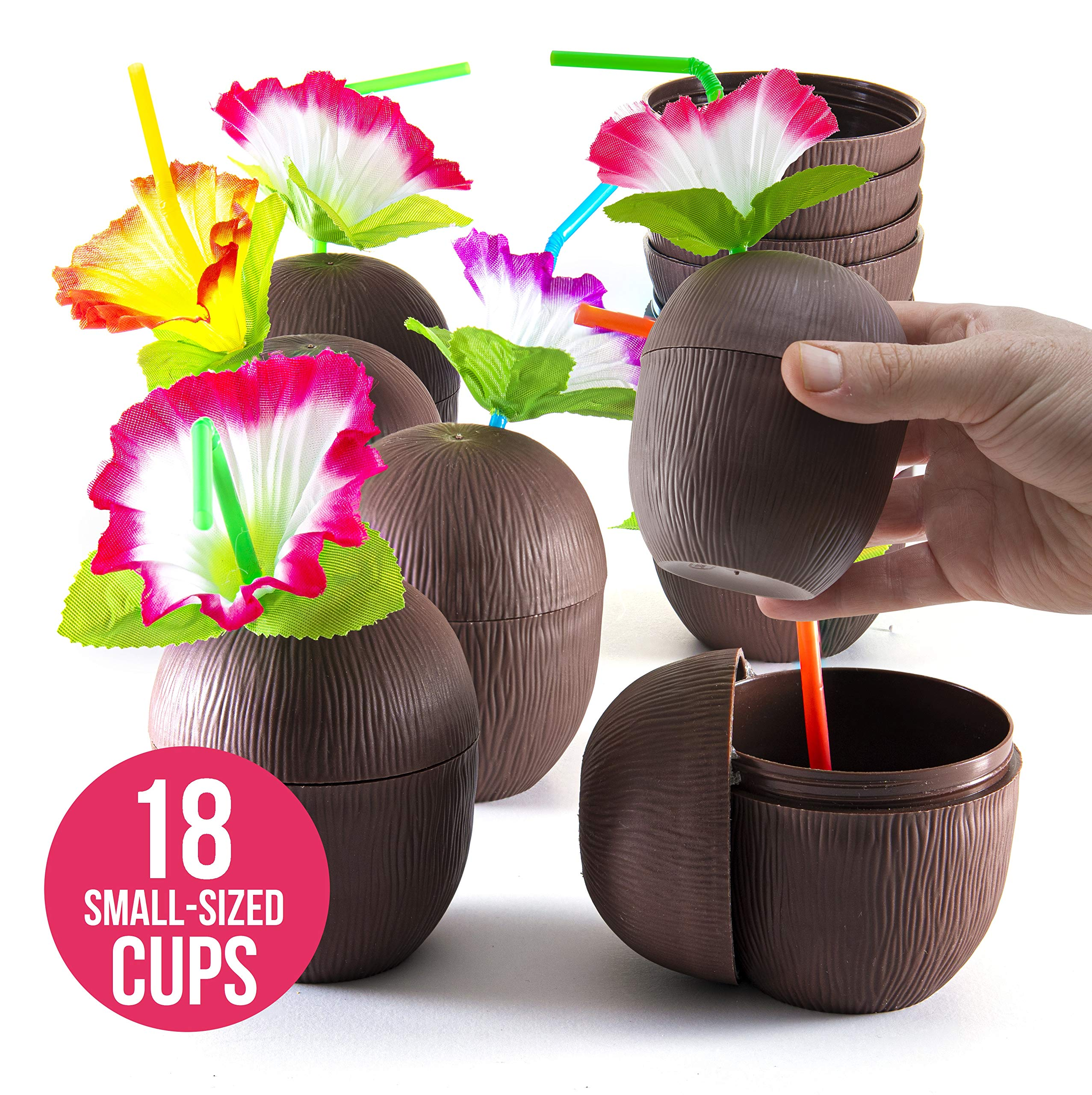 Prextex 18 Pack Mini Coconut Cups for Hawaiian Luau Kids Party with Hibiscus Flower Straws - Tiki and Beach Theme Party Fun Drink or Decoration Cups (250ml, 8.45oz) by PREXTEX