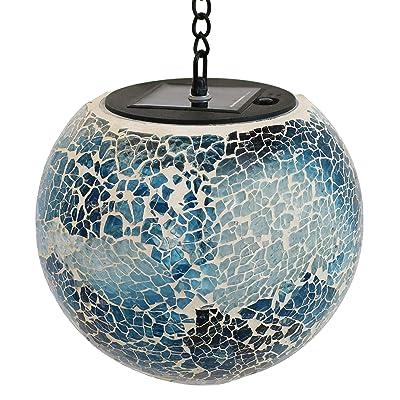 Sunnydaze Outdoor Hanging Gazing Globe - Solar Hanging Lantern - Round Mosaic Sea Mist Color Orb - Decorative Garden LED Light - Hanging Patio Light - Perfect for Porch, Deck or Landscape - 6-Inch : Garden & Outdoor