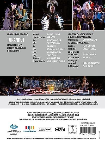 Turandot aux arènes de Vérone [DVD]: Amazon.es: Maria ...