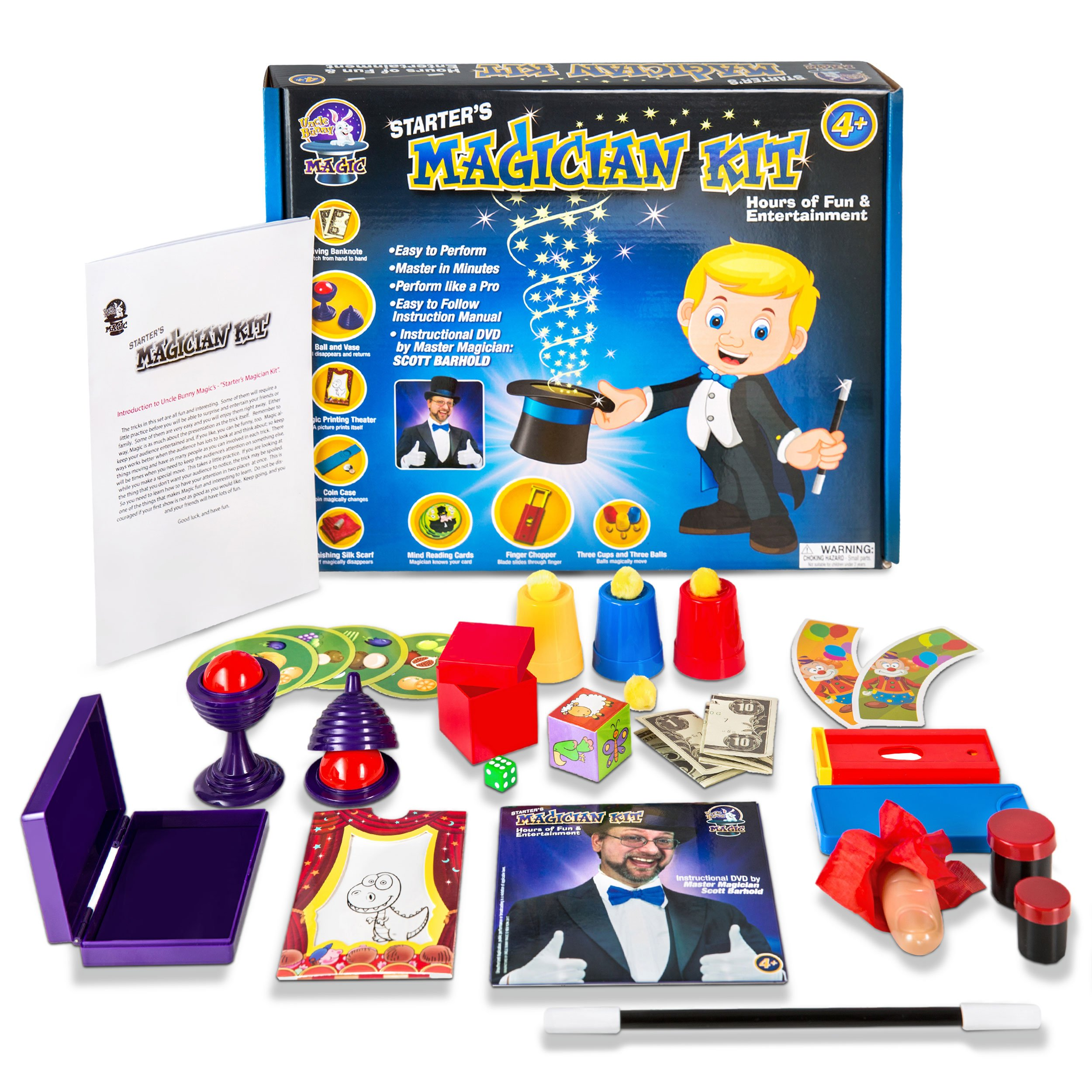 Uncle Bunny Starter Magic Tricks Set for Kids - 12 Exciting Magician Items, Instruction DVD - Magic Kit Gift Set