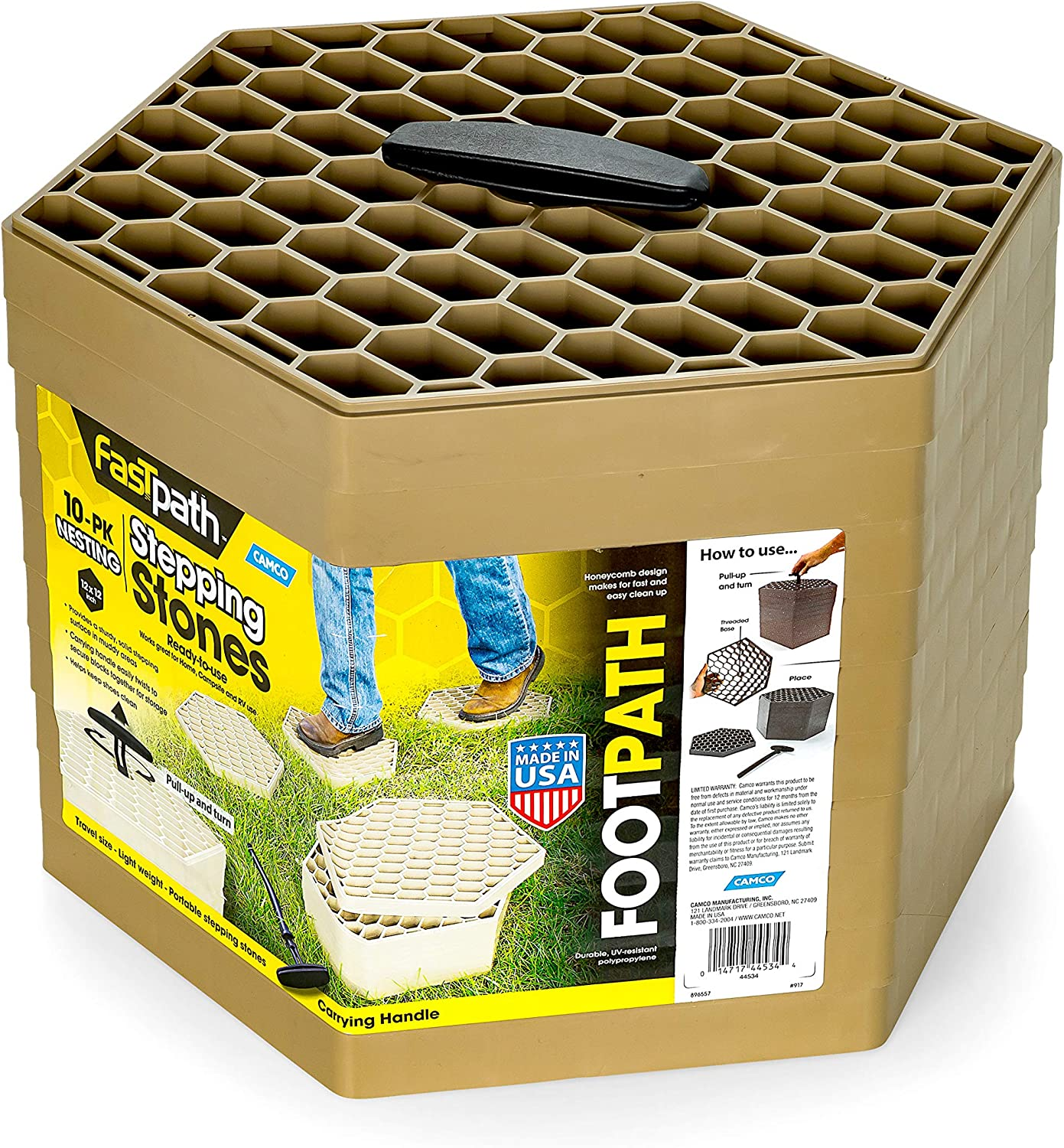 Amazon Com Camco 44534 Tan Fastpath Portable Stones Ideal For Providing A Solid Stepping Surface And Keeping Shoes Clean 10 Pack Automotive