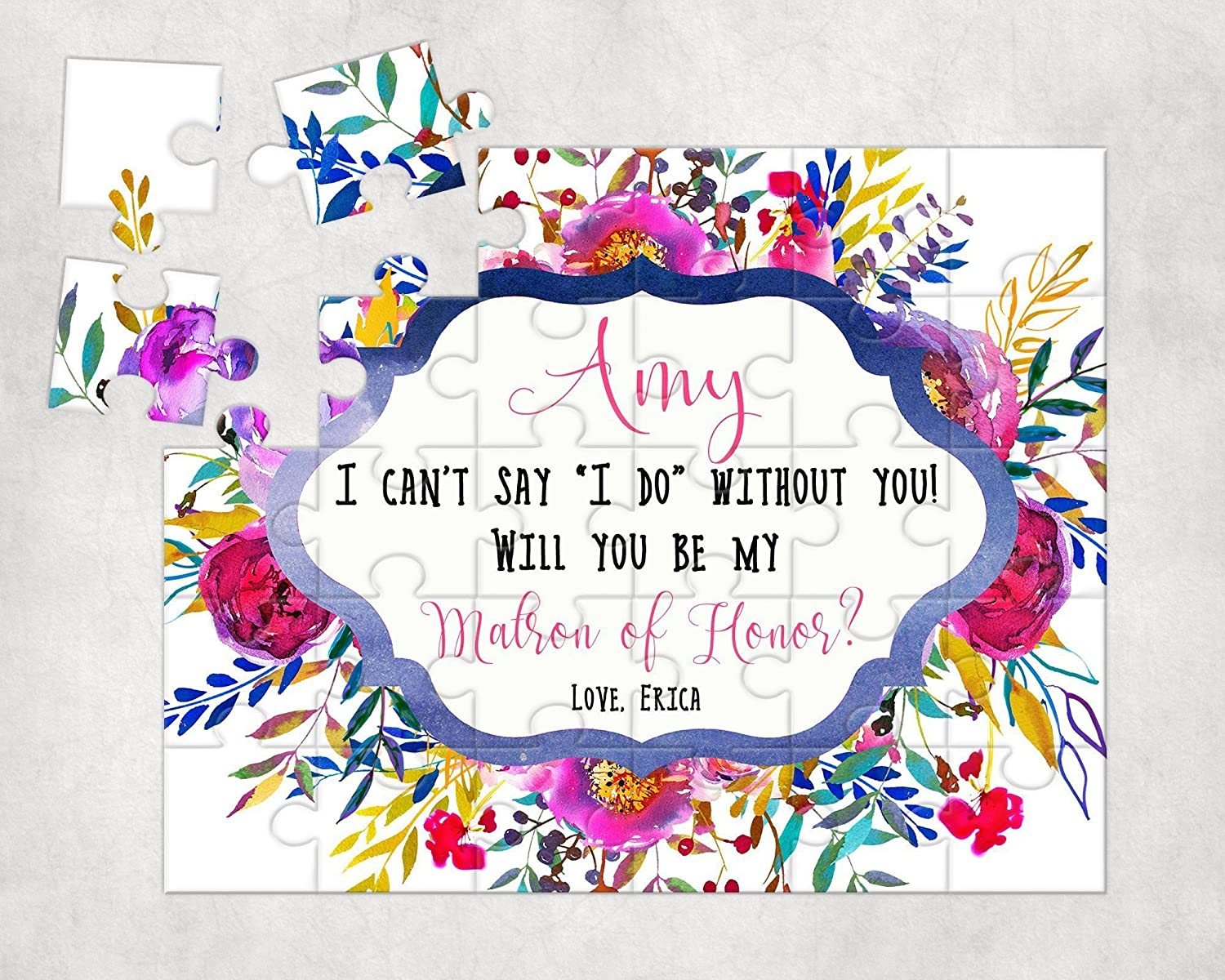 Personalized Matron Of Honor Puzzle - Puzzle Proposal - Asking Matron of Honor - Wedding Announcement - P0007