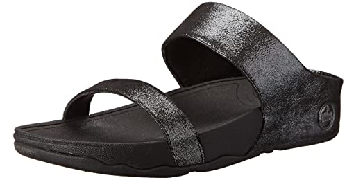 Fitflop Lulu Shimmersuede Slide, Women Sandals, Black (Black 001), 3 UK