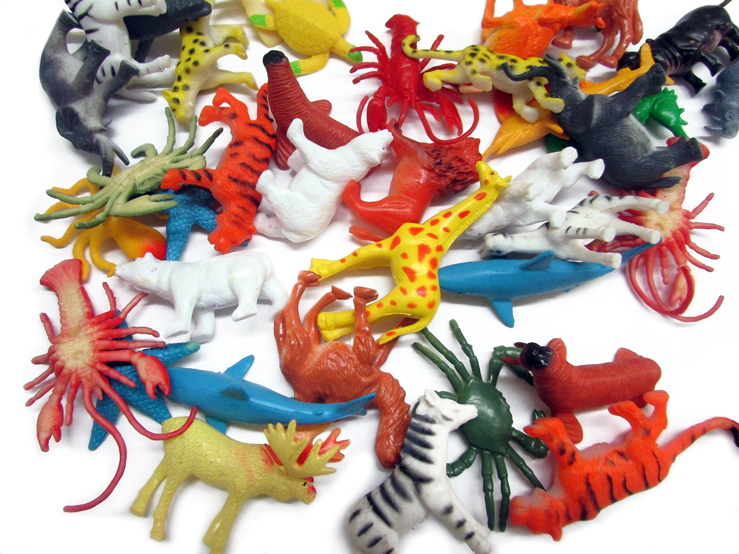 dazzling toys 90 Pieces Mini Ocean Sea Plastic Animals | Mega Bulk Pack Of Under the Sea and Jungle Life Animals | Great for Bath time, Caketoppers, Party Favor
