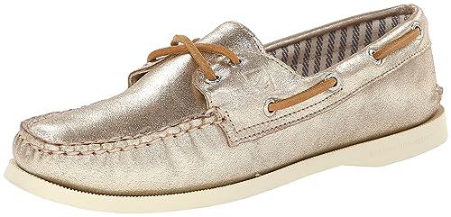 Sperry Top-Sider Authentic Original de la Mujer Metálico Boat Shoe, Gris (Platino), 7 B(M) US: Amazon.es: Zapatos y complementos