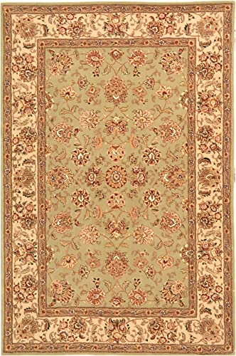 Safavieh Persian Court Collection PC106D Handmade Light Green and Ivory Wool Area Rug 5 x 8