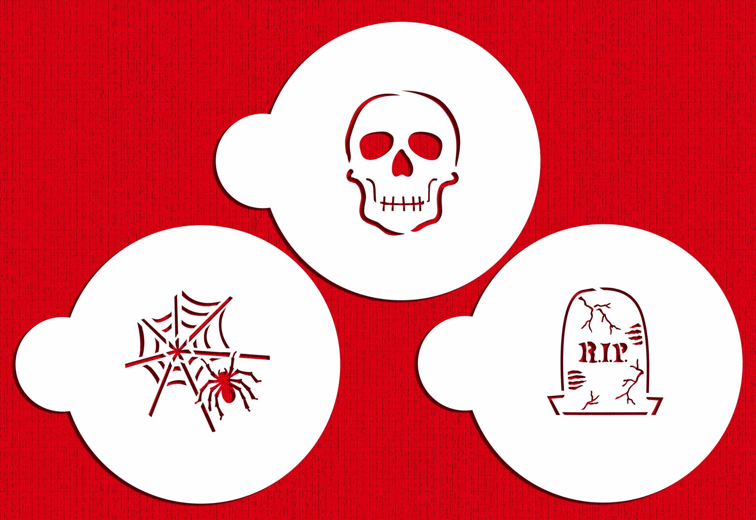 Designer Stencils C457 Scary Halloween Cookie Stencil Set, (Spider Web, Skull, Gravestone), Beige/semi-transparent